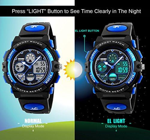 Kinder Digital Analog Uhren für Jungen–Kinder Outdoor Sport-Armbanduhr mit Alarm/Dual Time/LED Licht, 5ATM wasserdicht elektronische Analog Sport Handgelenk Uhren für Jugendliche–Blue von vdsow