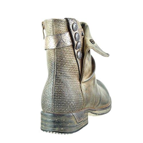 Angkorly - damen Schuhe Stiefeletten - Reitstiefel - Kavalier - bi-Material - gesteppt schuhe - Knoten - camouflage Blockabsatz 3 CM Gold