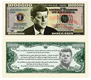 SET OF 100 BILLS-JOHN F COMMEMORATIVE MILLION DOLLAR BILL JFK KENNEDY