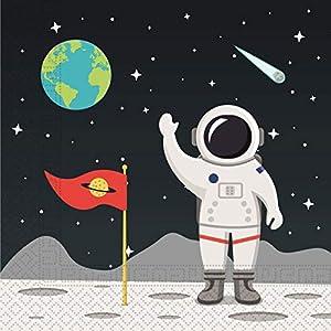 Procos 90297 Servietten Weltraum, 20 Stück, schwarz, weiß