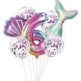 Haosell Globo de sirena grande para 6 años, decoración de cumpleaños infantil, multicolor, 1 globo de sirena XXL + número 6 n