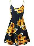 MSBASIC àrmelloses, verstellbares Riemchensommer Strand Swing Kleid für Damen 17147-10, Sunflower, S
