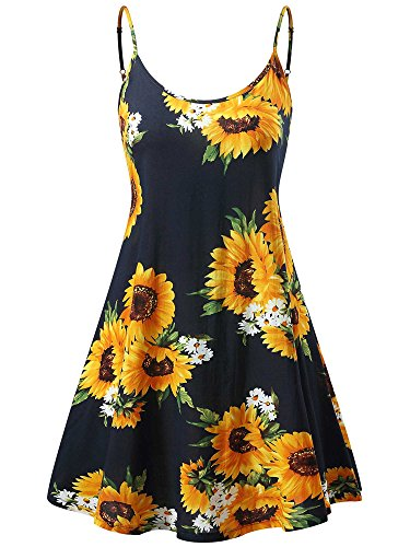 MSBASIC àrmelloses, verstellbares Riemchensommer Strand Swing Kleid für Damen 17147-10, Sunflower, S (Swing Damen-kleider)