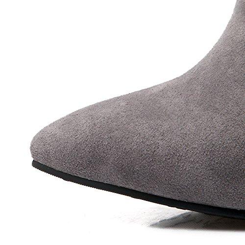 AllhqFashion Damen Blend-Materialien Hoher Absatz Schließen Zehe Stiefel Grau-Reißverschluss