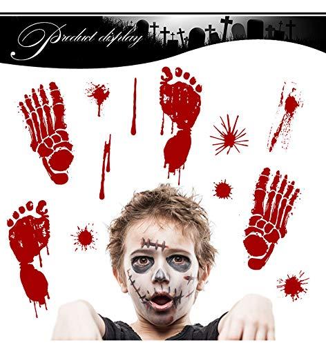 (Yuson Girl Halloween Wandaufkleber Wandtattoo Realistisch Wirkende Schaurig Blutige Sticker/Aufkleber - Halloween Party Haus Dekoration (8 Blätter))