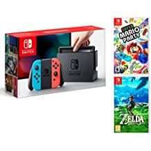 Nintendo Switch Rouge/Bleu Néon 32Go Pack Super Mario Party + Zelda: Breath of The Wild