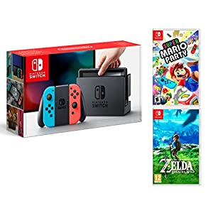 Nintendo Switch 32Gb Neon-Rot/Neon-Blau Pack Super Mario Party + Zelda: Breath of The Wild
