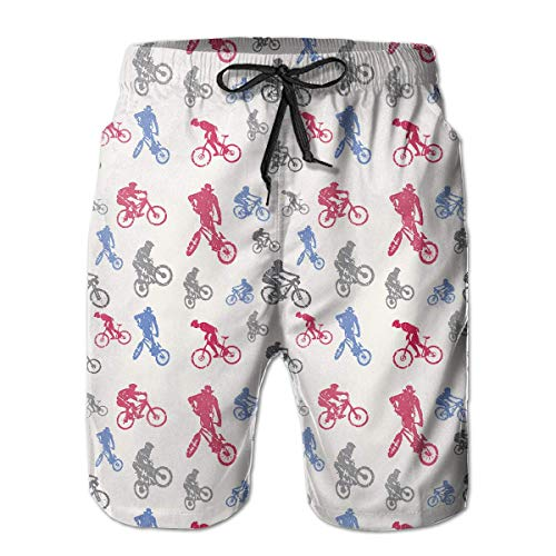 Mens Swim Trunks Casual Retro 1970's Style BMX Silhouette (4) Pattern 100% Polyester Athletic Shorts-XL (1970 Mens Hair)