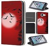 Samsung Galaxy S5 / S5 Neo Hülle von CoverHeld Premium Flipcover Schutzhülle Flip Case Motiv (1553 Vögel Mond Schwarz Rot)