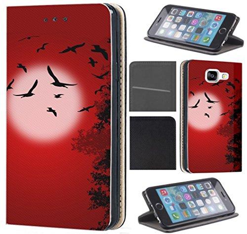 flipcover s5 Samsung Galaxy S5 / S5 Neo Hülle von CoverHeld Premium Flipcover Schutzhülle Flip Case Motiv (1553 Vögel Mond Schwarz Rot)