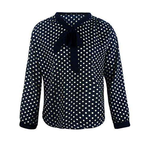 Jiameng top a manica lunga da donna - top dot bow tie grande camicetta camicia chiffona manicotto lungo chiffon delle donne bowknot casuale della camicia con scollo a v dots camicetta superiore