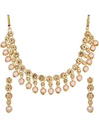 The Luxor Gold Plated American Diamond Jewellery Necklace Set For Women And Girls(NK-2125)