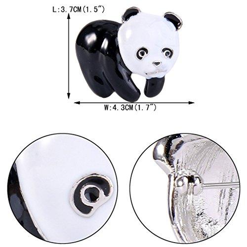 EVER FAITH® Femme Email Blanc&Noir Bébé Panda Adorable Animal Broche Pin Argenté
