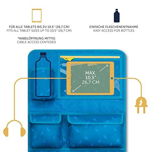 Kinder Autositz-Organizer und Rückenlehnenschutz - Autositzschoner, 8 Fächer, mit Tablet-Halter, blau Kinder Autositz-Organizer und Rückenlehnenschutz – Autositzschoner, 8 Fächer, mit Tablet-Halter