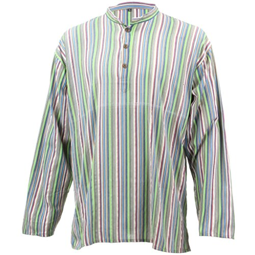 LOUDelephant Licht Baumwolle Lange Ärmel Gestreift Kurta Grandad Shirt, bright green & blue Gr. Größe L, Bright Green & Blue (Kurta Gestreiften)