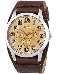 Guess W0182G1 - Reloj analógico de cuarzo para hombre con correa de piel, color marrón