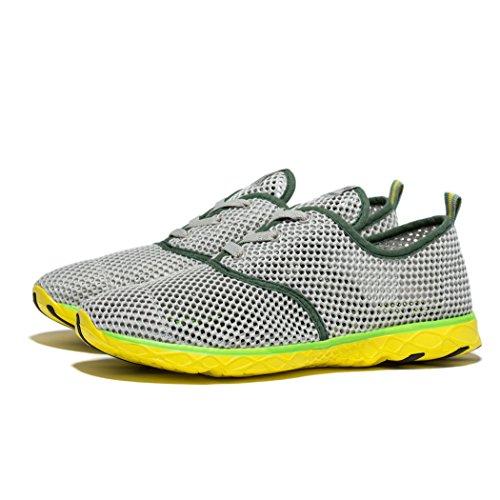 daillor Herren schnell trocknend Schnürschuh Aqua Outdoor Schuhe - Grey/Green