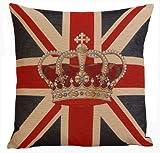 Dekokissen Sofakissen Couchkissen Union Jack mit Krone Gobelin Stoff 45x45cm - Versandkostenfrei in DE