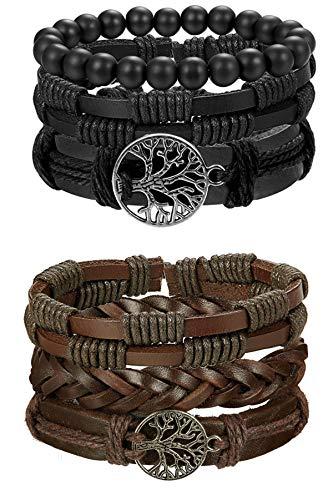 Milacolato Life Armband für Männer Frauen Tribal Leder Armband Armbänder einstellbar