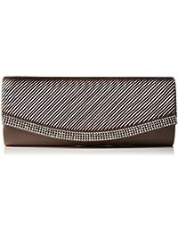 Berydale - Bolso de mano de satén con borde de estrás para mujer, clutch, bandolera con cadena adicional y cierre magnético