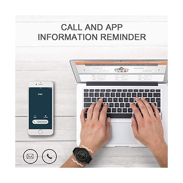 Smartwatch Hombre Deporte Reloj Inteligente Hombre Deporte con Estilo Smartwatch para Deportes y Aire Libre con Contadores de Podómetro Calorías Cronómetro Notificación de Mensajes para Android y iOS 5