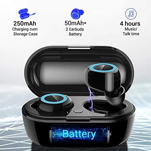 PTron Bassbuds True Wireless Earbuds (TWS), Bluetooth 5.0, Hi-Fi Sound, 4 Hours Music Time, 10-Meter Range Earbuds, 50mAh*2 Battery, Portable 250mAh Charging Box, Handsfree Wireless Earphones (Black)
