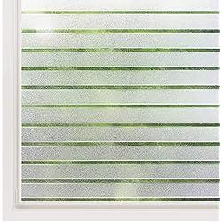 rabbitgoo Film Électrostatique Fenêtre Motif Rayure Autocollant Fenêtre Film pour Vitre Maison 90 * 200CM Protection UV -Idéal pour Bureau Chambre Cuisine Maison Salle de Bain