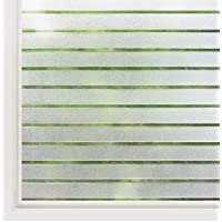 rabbitgoo Privacy Window Film Static Cling Frosted Window Film Opaque Glass Film No Glue Window Sticker UV Protection White Stripe for Office Living Room or Kitchen 44.5X200CM