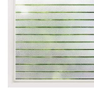 rabbitgoo Fensterfolie Streifen Sichtschutzfolie Selbstklebend Milchglasfolie Sichtschutz gestreifte Folie für Büro Anti…