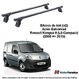 Jeu de 2 Barres de Toit Renault Kangoo II (L0-Compact) - (2008 = 2013) - Acier...
