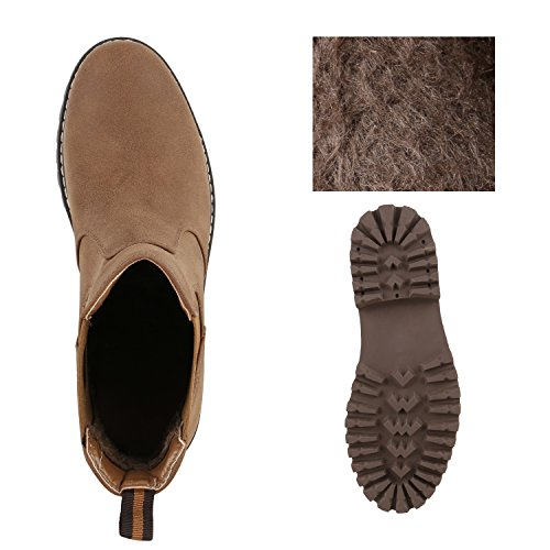 Herren Outdoor Chelsea Boots Profilsohle Schuhe Braun Braun
