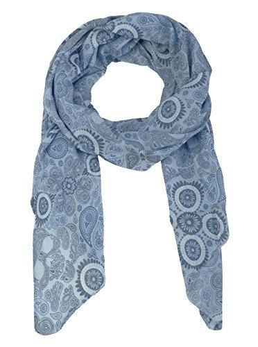 Zwillingsherz Seiden-Tuch für Damen Paisley Muster - Made in Italy - Eleganter Sommer-Schal für Frauen - Hochwertiges Seidentuch/Seidenschal - Halstuch und Chiffon-Stola Dezentes Muster blau
