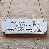 Schild « ENGLISCHE BULLDOGGE » 15 x 5 cm - Dekoschild Holzschild Türschild - Hund Haustier