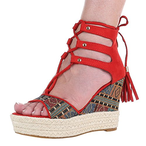 Ital-Design - Sandali Donna Rosso (Rouge - Rojo - rojo)