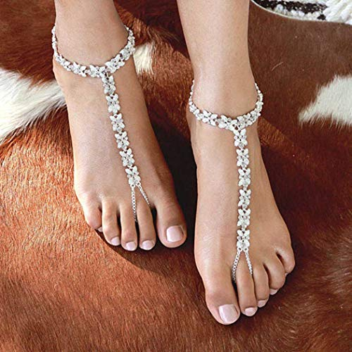Yean fashion flower fußkettchen kristall knöchel armband strass silber fußkette für frauen und mädchen