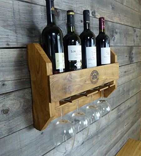 Original-Louis Martel® Weinregal aus Eiche 4-5 Flaschen und 4 Gläser Flaschenregal Flaschenständer Weinschrank Flaschenhalter massiv