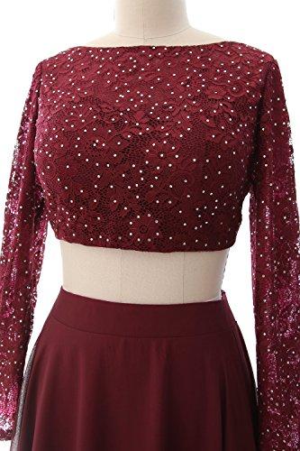 MACloth -  Vestito  - linea ad a - Maniche lunghe  - Donna Purple