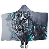 Brofans 3D Tiger Bild Kuscheldecke Winter Warm Microfiber Weich Flanell Wearable Sofadecke/Reisedecke Maschinenwaschbar Magic Zauber Hooded Blanket, A, 150 * 200cm