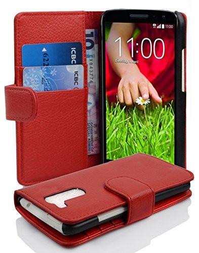 Gummi Case G2 Lg (LG G2 MINI Hülle in ROT von Cadorabo - Handyhülle mit Kartenfach für LG G2 MINI Case Cover Schutzhülle Etui Tasche Book Klapp Style in INFERNO ROT)