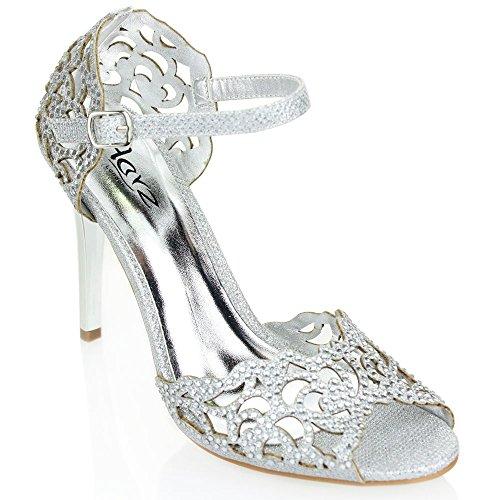 Billig Größe Plus Schuhe (Aarz Frauen-Dame-Abend-Hochzeits -Abschlussball -Party-Absatz-geöffnete Zehe Diamante Braut Sandale Schuh-Größe (Schwarz, Silber, Gold,)