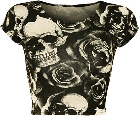 WearAll - Femmes Crâne De Rosas impression monochrome Cap Sleeve Vest Crop Haut - Crâne Roses - 40-42
