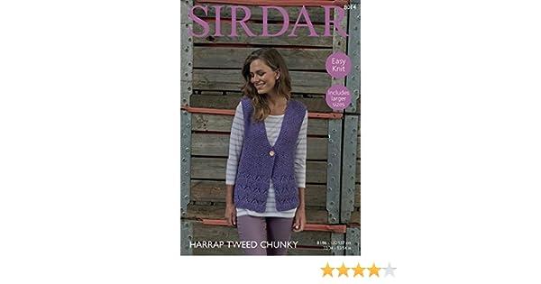 2e8f75df8987 Sirdar 8014 Knitting Pattern Womens Easy Knit Waistcoat in Sirdar Harrap  Tweed Chunky  Amazon.co.uk  Kitchen   Home