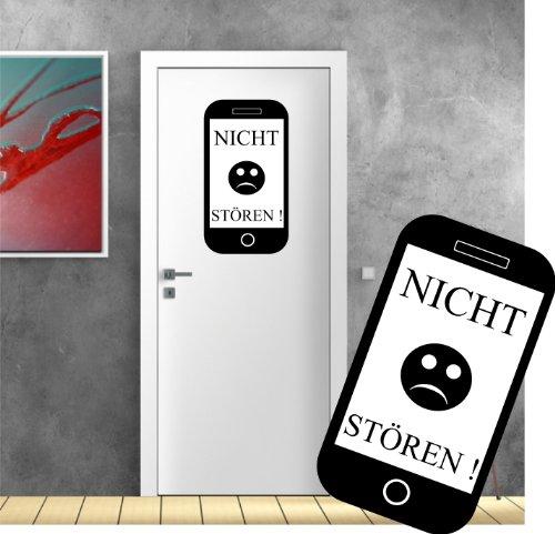 Türaufkleber, Wandsticker Wandtattoo - Smartphone Look Nicht stören - Wandaufkleber original Stickerkoenig ( Größe: 50x28cm ) Seidenmatt - freie Farbwahl Neu