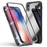 QINPIN Für iPhone XS 5.8 inch Magnetic Adsorption Metal Bumper Glass Case Cover Schwarz