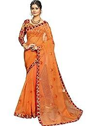 Fabura Women's Cotton Saree With Blouse Piece (F-47462, Orange, Free Size)