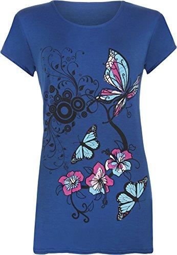 WearAll - Femmes Buttefly Imprimer Manches Courtes T-Shirt Baggy Top - Femmes - Hauts - Tailles 42-48 Bleu royal