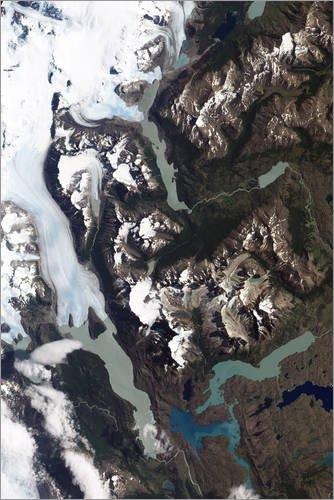 Posterlounge Forex-Platte 120 x 180 cm: Blick auf mahlende Gletscher und Granitgipfel in Patagonien von Stocktrek Images