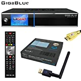 GigaBlue UHD Quad 4K ULTRA HD 2xDVB-S2 FBC E2 Linux Receiver + GigaBlue USB Wlan Stick Adapter 600 MBit + MG-Technik HDMI-Kabel V2.0 Gold