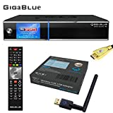 GigaBlue UHD Quad 4K ULTRA HD 2xDVB-S2 FBC E2 Linux Receiver + GigaBlue USB Wlan Stick Adapter 600 MBit + MG-Technik HDMI-Kabel V2.0 Gold