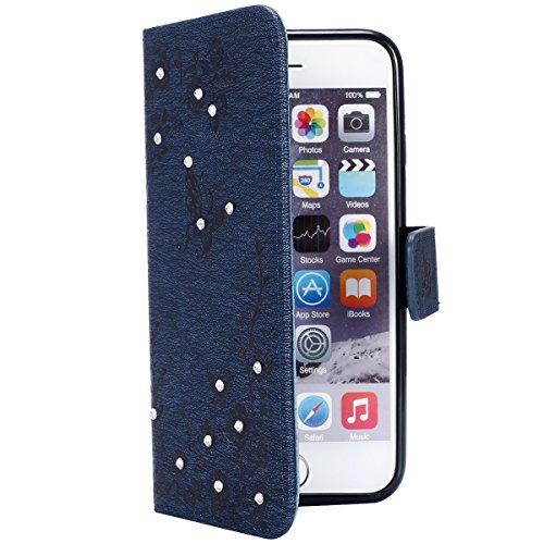 Custodia iPhone 6, ISAKEN Custodia iPhone 6S, iPhone 6 Flip Cover con Strap, Elegante borsa Colorate Albero Design in Sintetica Ecopelle PU Pelle Protettiva Portafoglio Case Cover per Apple iPhone 6 4 Diamante: marina militare